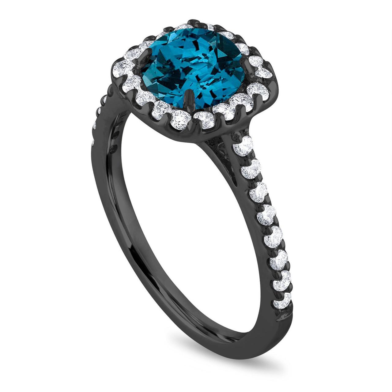 London Blue Topaz Engagement Ring Cushion Cut Engagement Ring Vintage Wedding Ring 1 58 Carat 14k Black Gold Certified Halo Pave Unique