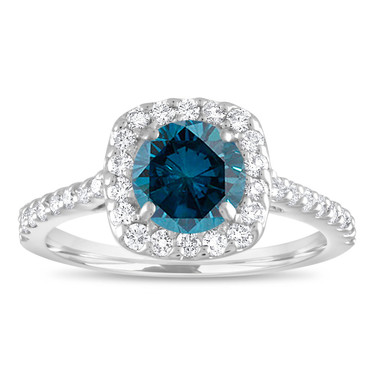 Blue Diamond Engagement Ring White Gold, Cushion Cut Engagement Ring, Fancy Bridal Ring 1.58 Carat Unique Halo Pave Certified Handmade