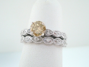 1.18 Carat Fancy Champagne Diamond Engagement Ring Set, Bridal Ring Sets, 14K White Gold Handmade