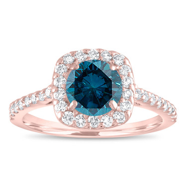 Blue Diamond Engagement Ring Rose Gold, Cushion Cut Engagement Ring, Fancy Wedding Ring 1.58 Carat Unique Halo Pave Certified Handmade