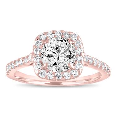 Diamond Engagement Ring Rose Gold, Cushion Cut Engagement Ring, Gia Certified Bridal Ring, Halo Pave Wedding Ring, 1.58 Carat Handmade