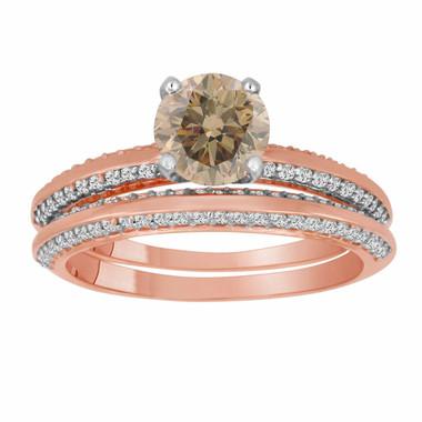 Champagne Diamond Engagement Ring Set Rose Gold, Fancy Brown Diamond Wedding Sets, Bridal Rings, 1.54 Carat Micro Pave Handmade
