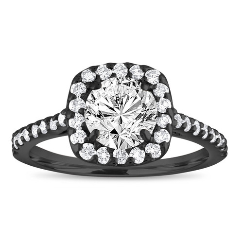 1.58 Carat Diamond Engagement Ring, Vintage Bridal Ring, Cushion Cut Engagement Ring Gia Certified 14k Black Gold Unique Handmade