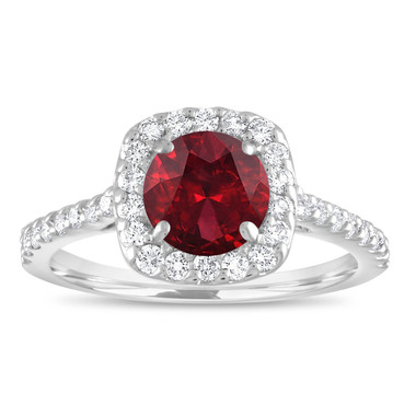 Garnet Engagement Ring White Gold, Garnet Ring, Garnet & Diamonds Bridal Ring, Red Garnet Wedding Ring 1.72 Carat Certified Halo Handmade