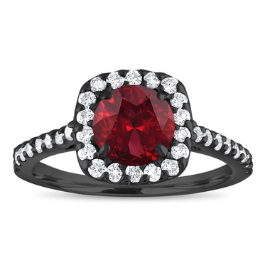 Vintage Garnet Engagement Ring Black Gold, Garnet Ring, Garnet & Diamonds Bridal Ring, Red Garnet Wedding Ring 1.72 Carat Certified Handmade