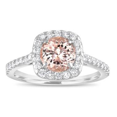 Morganite Engagement Ring White Gold, Cushion Cut Engagement Ring, Peach Pink Morganite Wedding Ring, 1.47 Carat Certified Halo Handmade