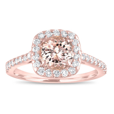 Morganite Engagement Ring Rose Gold, Pink Morganite Cushion Cut Bridal Ring, Peach Morganite Wedding Ring 1.47 Carat Certified Pave Handmade