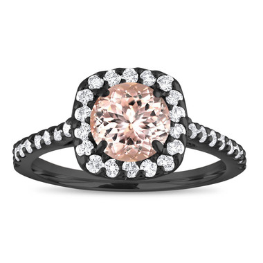 Vintage Morganite Engagement Ring, Black Gold Cushion Cut Engagement Ring, Peach Pink Morganite Wedding Ring, 1.47 Carat Certified Halo Pave