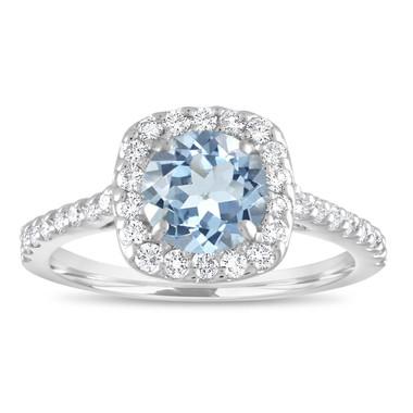 Aquamarine Engagement Ring White Gold, With Diamonds Cushion Cut Ring, Aquamarine Wedding Ring, 1.43 Carat Certified Halo Pave Handmade