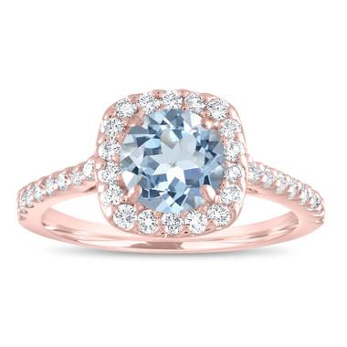 Aquamarine Engagement Ring Rose Gold, Blue Aquamarine and Diamonds Bridal Ring, Cushion Cut Ring, 1.43 Carat Certified Halo Pave Handmade