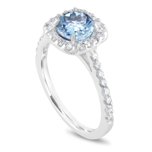 Aquamarine Engagement Ring Platinum,  Aquamarine Bridal Ring, Cushion Cut Anniversary Ring, 1.43 Carat Aquamarine Wedding Ring, Handmade