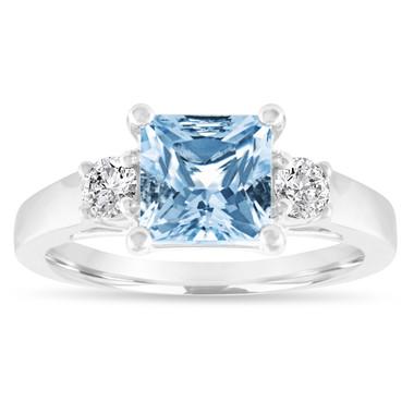 Princess Cut Aquamarine Engagement Ring, Three Stone Engagement Ring, Aquamarine & Diamonds Wedding Ring, 1.80 Carat 14K White Gold