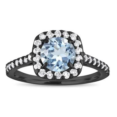 Vintage Aquamarine Engagement Ring, Aquamarine Wedding Ring, Cushion Cut Engagement Ring, 1.43 Carat 14K Black Gold Certified Halo Handmade
