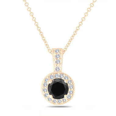 Black Diamond Pendant Necklace Yellow Gold, Halo Pendant Necklace, Pave 1.23 Carat Handmade