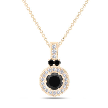Black Diamond Pendant Yellow Gold, Black Diamond Necklace, Halo Pendant Necklace, Certified 1.38 Carat Handmade