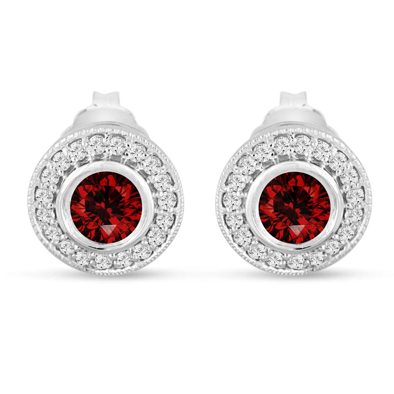 1fa816ade6aaa Red Diamond Stud Earrings, Fancy Red Diamonds Halo Earrings, Diamond  Earrings 14K White Gold 1.08 Carat Bezel And Micro Pave Handmade Unique