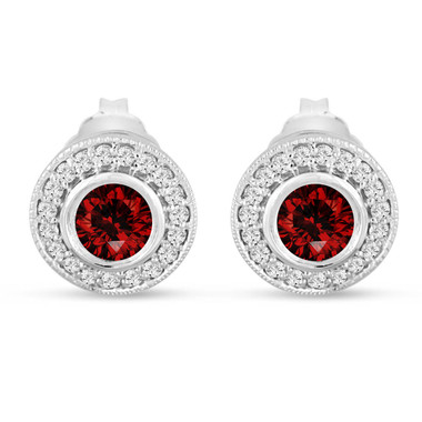 Red Diamond Stud Earrings, Fancy Red Diamonds Halo Earrings, Diamond Earrings 14K White Gold 0.90 Carat Bezel And Micro Pave Handmade Unique