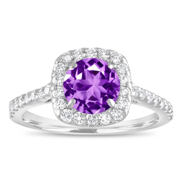 1.57 Carat Amethyst Engagement Ring, Amethyst and Diamonds Wedding Ring, Cushion Cut Ring, 14K White Gold Certified Halo Pave Handmade