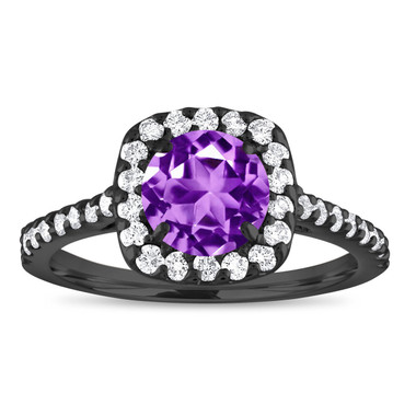 Vintage Amethyst Engagement Ring, Amethyst and Diamonds Ring, 1.57 Carat Cushion Cut Ring, 14K Black Gold Certified Halo Pave Handmade