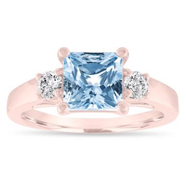 Aquamarine Engagement Ring Rose Gold, Princess Cut Aquamarine and Diamonds Three Stone Engagement Ring, Aquamarine Wedding Ring, 1.80 Carat