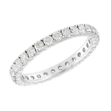 Diamond Eternity Wedding Ring, French Pave Diamonds Eternity Wedding Band, 14K White Gold 0.90 Carat Anniversary Ring, Certified Handmade