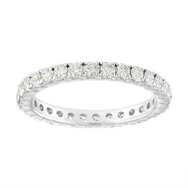 Platinum Diamond Eternity Wedding Ring, French Pave Diamonds Wedding Band, 0.90 Carat Anniversary Ring, Stackable Band, Certified Handmade