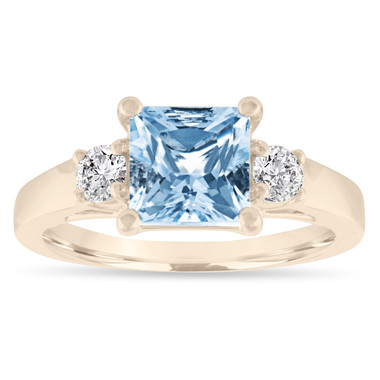 Aquamarine Engagement Ring Yellow Gold, Princess Cut Three Stone Engagement Ring, Aquamarine & Diamonds Wedding Ring, 1.80 Carat