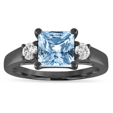 Aquamarine Engagement Ring, Three Stone Vintage Engagement Ring, Princess Cut Aquamarine & Diamonds Wedding Ring, 1.80 Carat 14K Black Gold