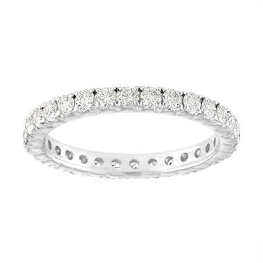 Eternity Diamond Wedding Band, VS2 0.90 Carat French Pave Diamonds Eternity Wedding Ring 18K White Gold Anniversary Ring Certified Handmade