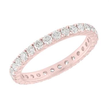 Diamond Eternity Wedding Band, French Pave Diamonds Eternity Ring, 14K Rose Gold 0.90 Carat Anniversary Ring, Certified Handmade
