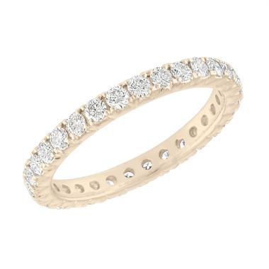 Eternity Diamond Wedding Band, Diamonds Eternity Wedding Ring, 14K Yellow Gold 0.90 Carat French Pave Anniversary Ring, Certified Handmade