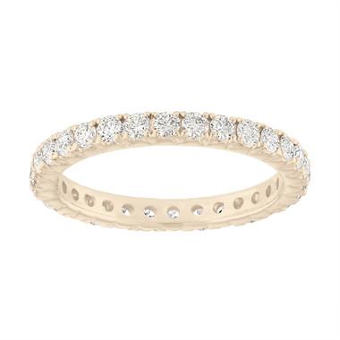 Eternity Diamond Wedding Ring, VS2 Diamonds Eternity Wedding Band, 18K Yellow Gold Anniversary Ring, 0.90 Carat French Pave Handmade Unique