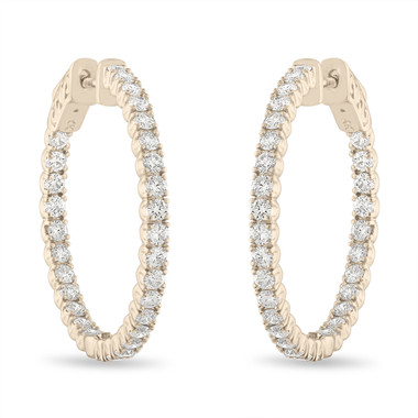1 Inch Inside Out Diamond Hoop Earrings, Diamond Hoop Earrings, 14K Yellow Gold 2.10 Carat Certified