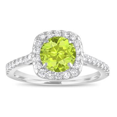 Peridot Engagement Ring, Peridot Wedding Ring, Green Peridot & Diamonds Bridal Ring, 1.57 Carat 14K White Gold Certified Halo Pave Handmade