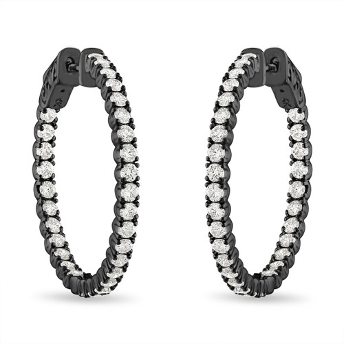 Inside Out Diamond Hoop Earrings, 1 Inch Diamond Hoop Earrings, 2.10 Carat 14K Black Gold Certified
