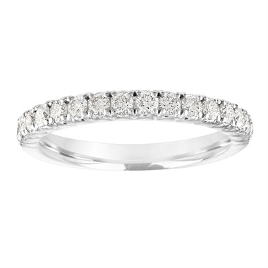 Diamond Wedding Ring, Half Eternity Wedding Band, French Pave Diamonds Anniversary Ring, 14K White Gold 0.50 Carat Certified Handmade