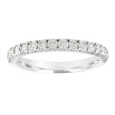 Platinum Diamond Wedding Band, Half Eternity Diamond Wedding Ring, French Pave Anniversary Ring Stackable Band 0.50 Carat Certified Handmade