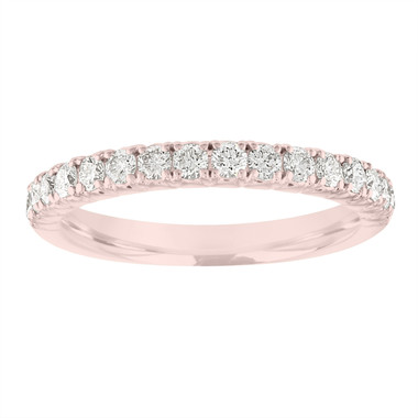 Diamond Wedding Band Rose Gold, Half Eternity Wedding Ring, French Pave Stackable Ring, Anniversary Ring, 0.50 Carat Certified Handmade