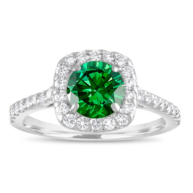 Green Diamond Engagement Ring, Fancy Diamond Bridal Ring, Cushion Cut Ring 1.58 Carat 14K White Gold Unique Halo Pave Certified Handmade