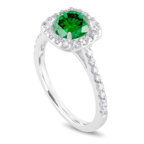 Platinum Green Diamond Engagement Ring, Cushion Cut Engagement Ring, Bridal Ring, 1.58 Carat Unique Halo Pave Certified Handmade
