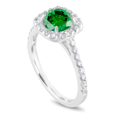 Platinum Green Diamond Engagement Ring, Cushion Cut Engagement Ring, Bridal Ring, 1.58 Carat Unique Halo Pave Certified Handmade