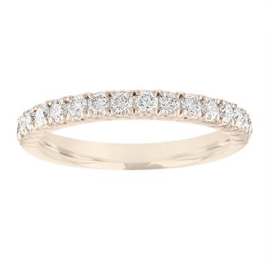 Diamond Wedding Band Yellow Gold, Half Eternity Diamond Wedding Ring, Pave Diamonds Anniversary Ring, 0.50 Carat Certified Handmade