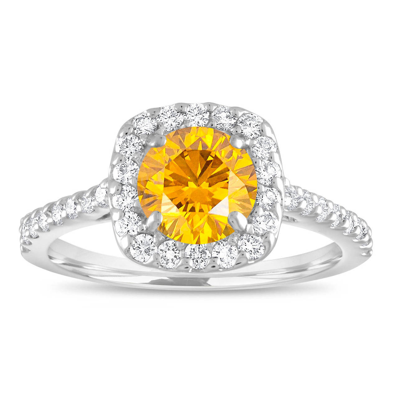 Yellow Diamond Engagement Ring Canary Yellow Diamond Bridal Ring Cushion Cut Ring 1 58 Carat 14k White Gold Unique Halo Certified Handmade