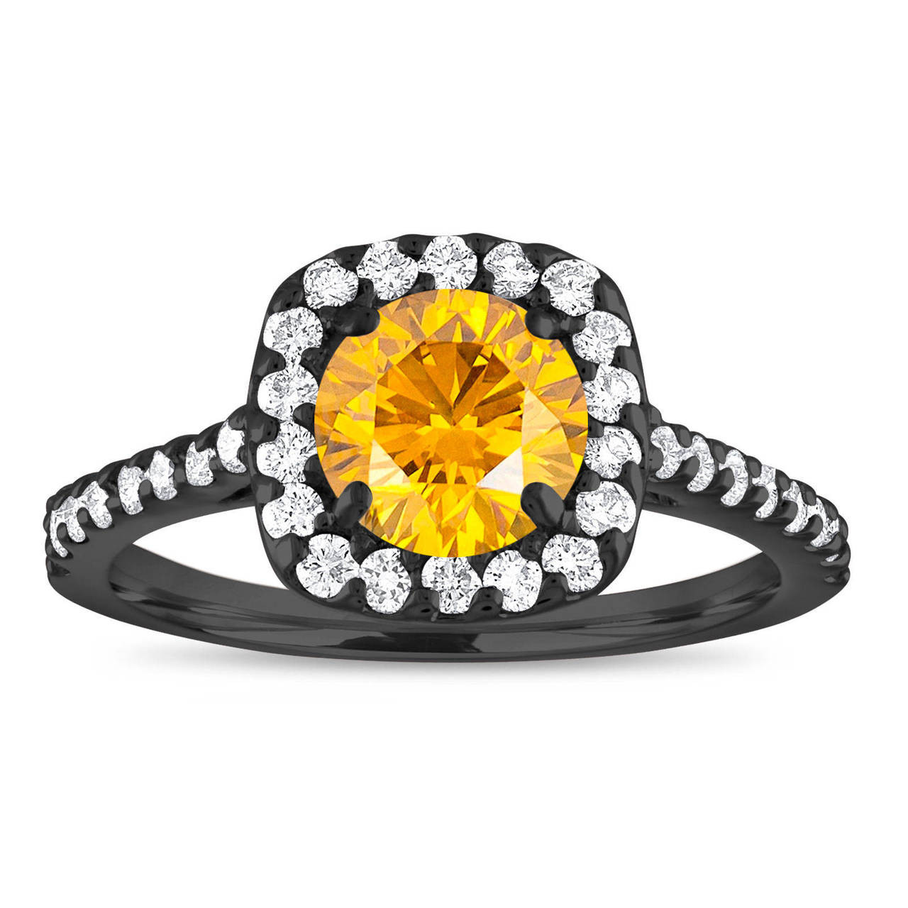 Yellow Diamond Engagement Ring Vintage Canary Yellow Diamond Ring Cushion Cut Ring 1 58 Carat 14k Black Gold Unique Certified Handmade