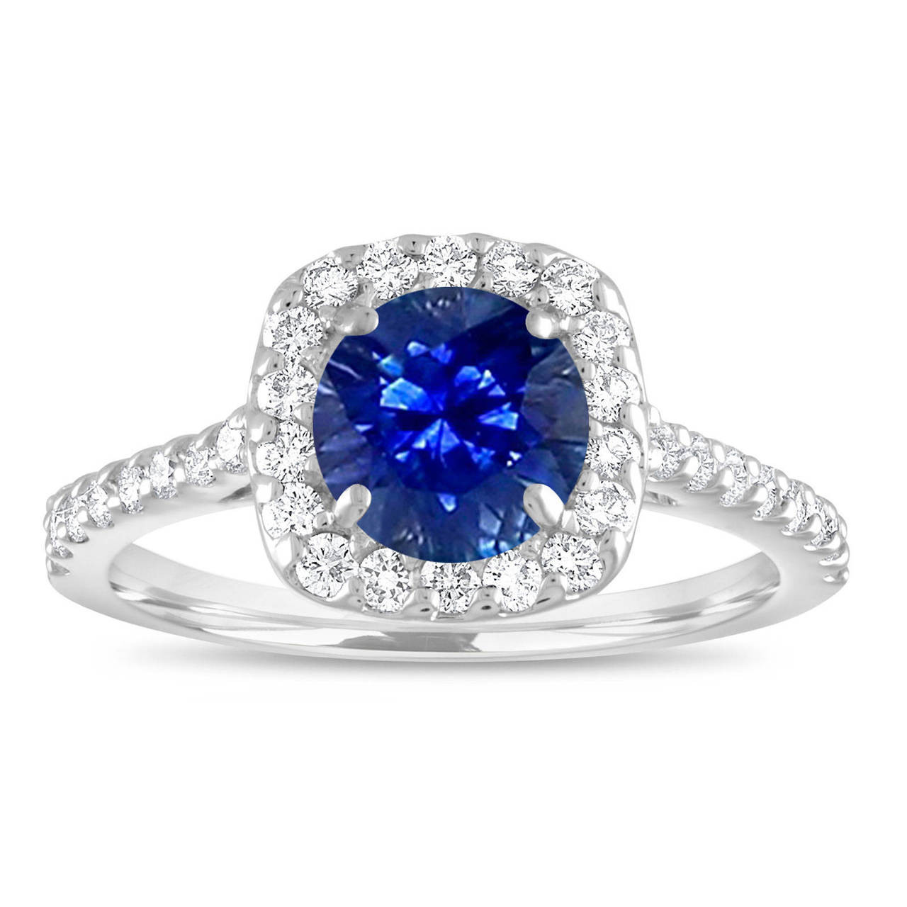 Sapphire Engagement Ring White Gold Blue Sapphire