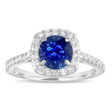 Sapphire Engagement Ring White Gold, Blue Sapphire & Diamonds Wedding Ring, Cushion Cut Bridal Ring,1.57 Carat Certified Pave Handmade