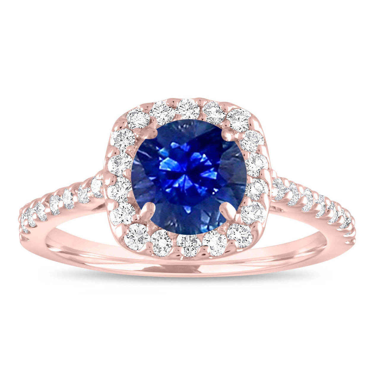 Sapphire Engagement Ring Rose Gold Sapphire And Diamonds Bridal