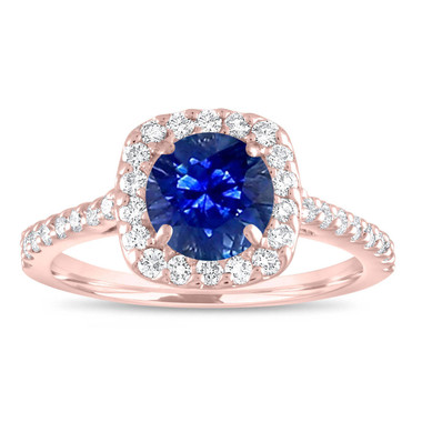 Sapphire Engagement Ring Rose Gold, Sapphire and Diamonds Bridal Ring, Cushion Cut Wedding Ring, 1.57 Carat Certified Pave Handmade