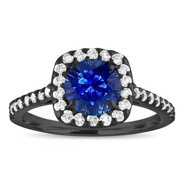 Vintage Sapphire Engagement Ring , Blue Sapphire & Diamonds Wedding Ring, 14K Black Gold Cushion Cut 1.57 Carat Certified Pave Handmade