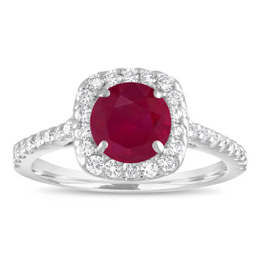Ruby and Diamonds Engagement Ring, Ruby Bridal Ring, Red Ruby Cushion Cut Wedding Ring, 1.57 Carat 14K White Gold Certified Halo Handmade